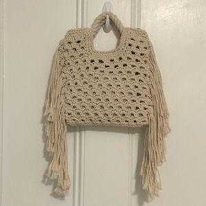 Who What Wear Mini Crochet Fringe Bag